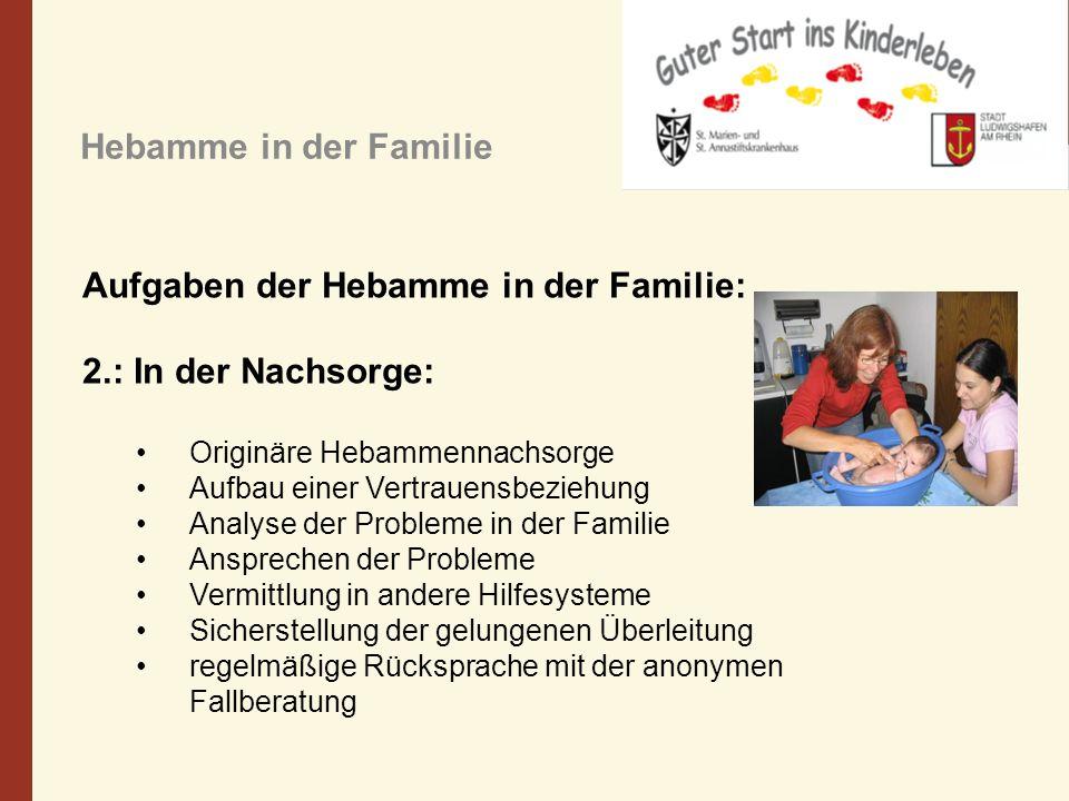 Hebamme in der Familie Aufgaben der Hebamme in der Familie: 2.: In der Nachsorge: Originäre Hebammennachsorge Aufbau einer Vertrauensbeziehung Analyse