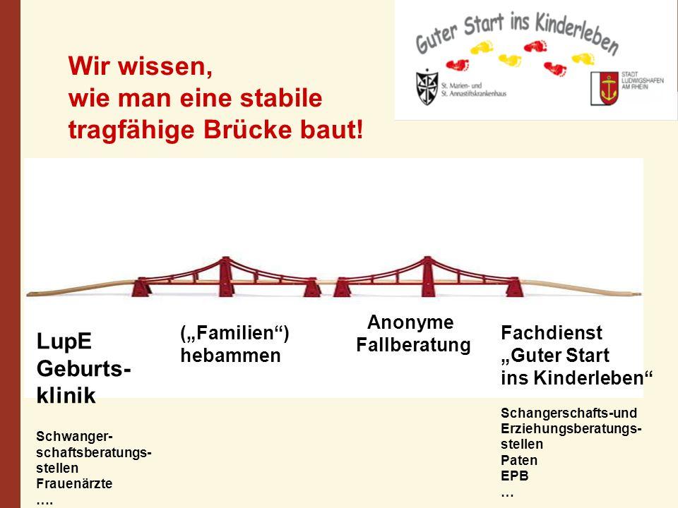 Anonyme Fallberatung Wir wissen, wie man eine stabile tragfähige Brücke baut! LupE Geburts- klinik Schwanger- schaftsberatungs- stellen Frauenärzte ….