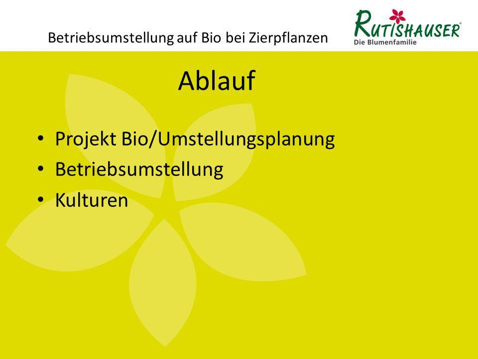 Betriebsumstellung auf Bio bei Zierpflanzen Projekt Bio/ Umstellungsplanung Zeitlicher Ablauf der Umstellung 31.