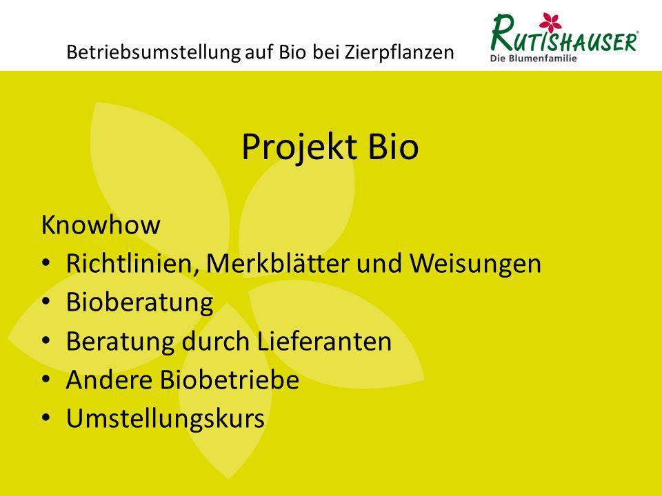Projekt Bio Betriebsumstellung auf Bio bei Zierpflanzen Knowhow Richtlinien, Merkblätter und Weisungen Bioberatung Beratung durch Lieferanten Andere B