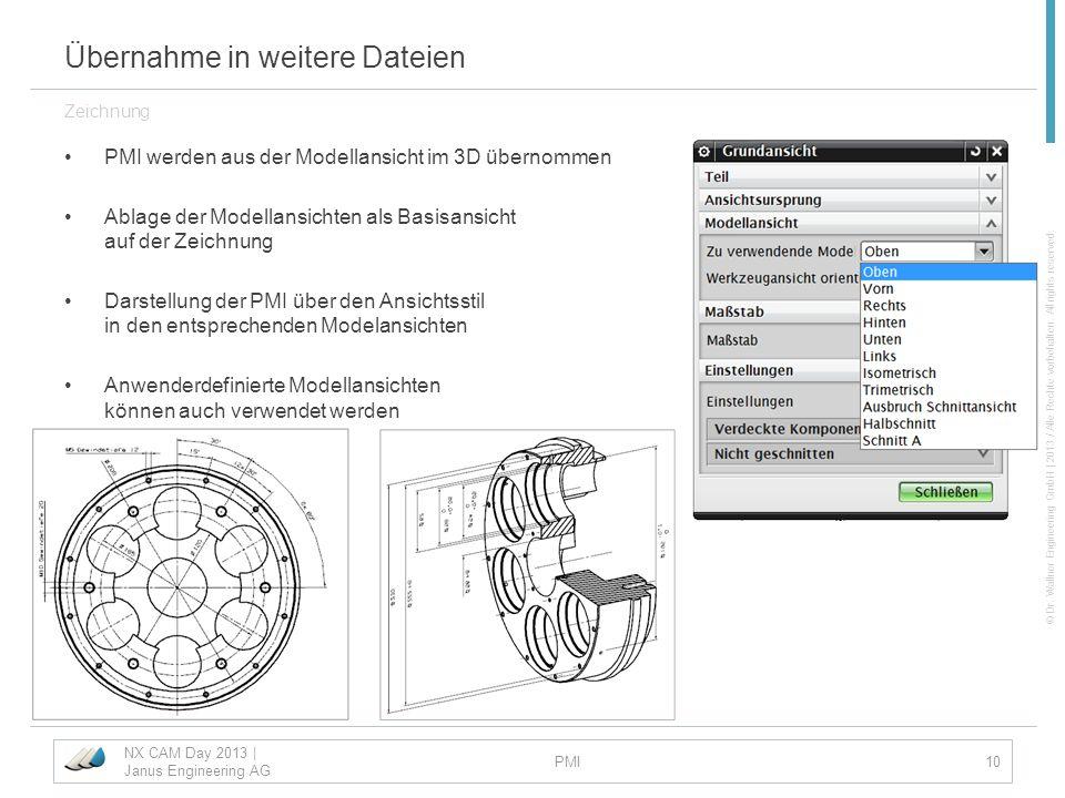 © Dr. Wallner Engineering GmbH | 2013 / Alle Rechte vorbehalten. All rights reserved. Übernahme in weitere Dateien PMI werden aus der Modellansicht im