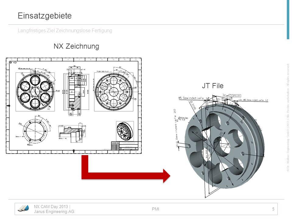 © Dr. Wallner Engineering GmbH | 2013 / Alle Rechte vorbehalten. All rights reserved. Einsatzgebiete Langfristiges Ziel Zeichnungslose Fertigung NX CA