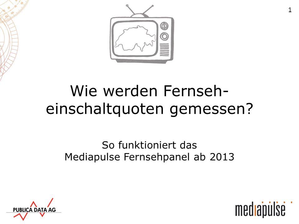 12 Fernsehsender Fernsehhaushalte Fernsehforschung Die Messungen aus den Fernsehhaushalten fliessen zurück zu Mediapulse.
