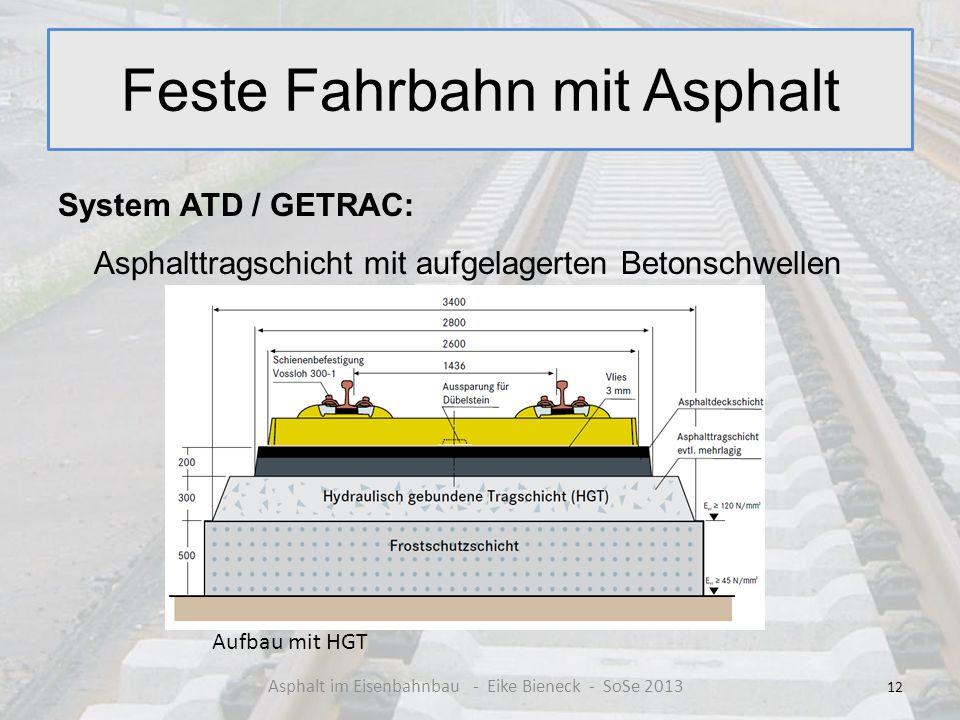Feste Fahrbahn mit Asphalt System ATD / GETRAC: Asphalttragschicht mit aufgelagerten Betonschwellen 12 Asphalt im Eisenbahnbau - Eike Bieneck - SoSe 2