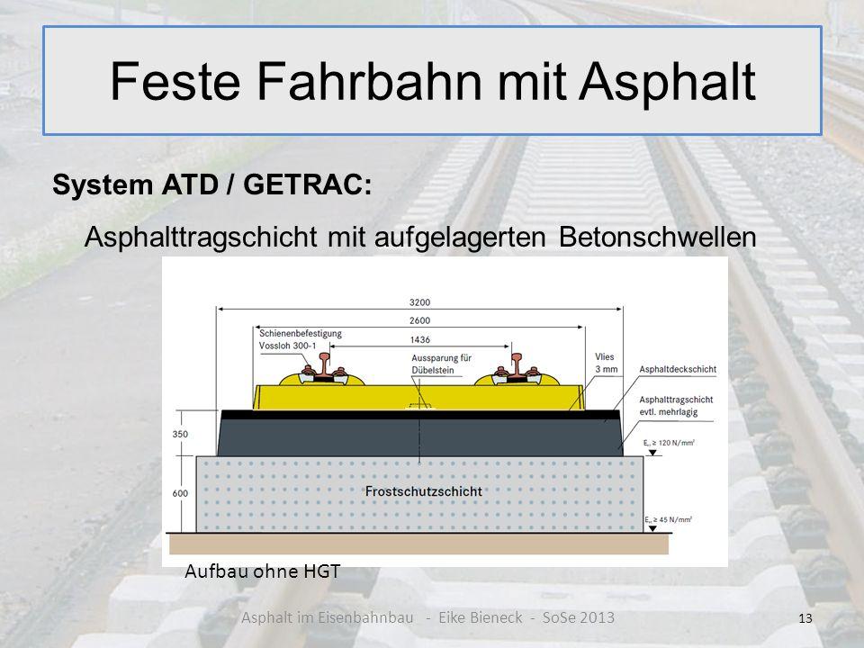 Feste Fahrbahn mit Asphalt System ATD / GETRAC: Asphalttragschicht mit aufgelagerten Betonschwellen 13 Asphalt im Eisenbahnbau - Eike Bieneck - SoSe 2