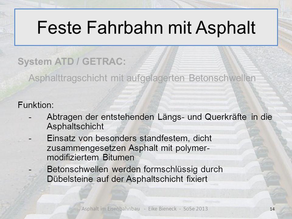 Feste Fahrbahn mit Asphalt System ATD / GETRAC: Asphalttragschicht mit aufgelagerten Betonschwellen Funktion: - Abtragen der entstehenden Längs- und Q
