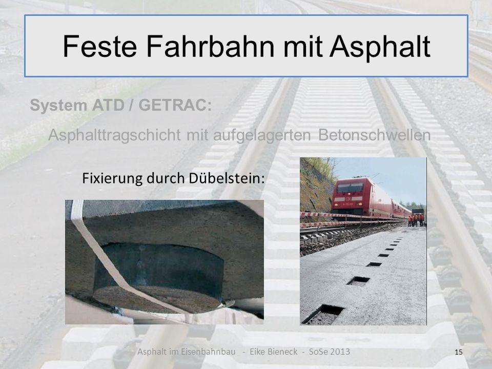 Feste Fahrbahn mit Asphalt System ATD / GETRAC: Asphalttragschicht mit aufgelagerten Betonschwellen 15 Asphalt im Eisenbahnbau - Eike Bieneck - SoSe 2