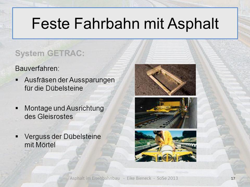 Feste Fahrbahn mit Asphalt System GETRAC: Bauverfahren: Ausfräsen der Aussparungen für die Dübelsteine Montage und Ausrichtung des Gleisrostes Verguss