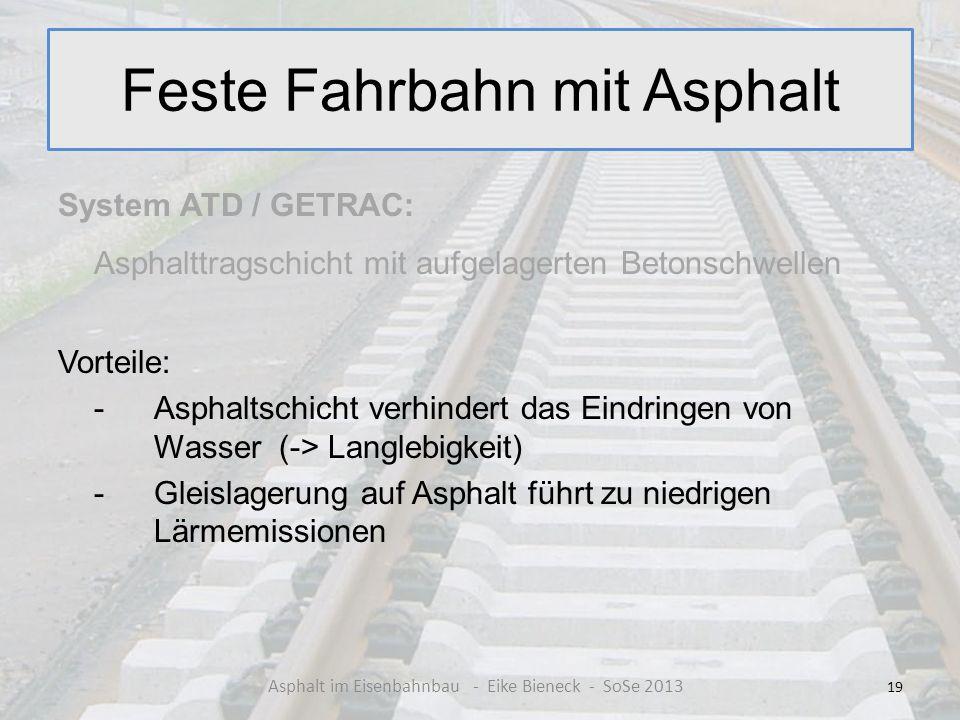 Feste Fahrbahn mit Asphalt System ATD / GETRAC: Asphalttragschicht mit aufgelagerten Betonschwellen Vorteile: - Asphaltschicht verhindert das Eindring