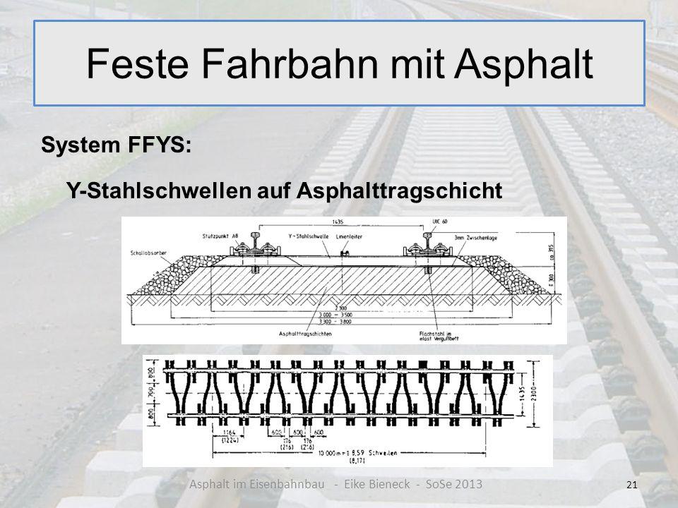 Feste Fahrbahn mit Asphalt System FFYS: Y-Stahlschwellen auf Asphalttragschicht 21 Asphalt im Eisenbahnbau - Eike Bieneck - SoSe 2013