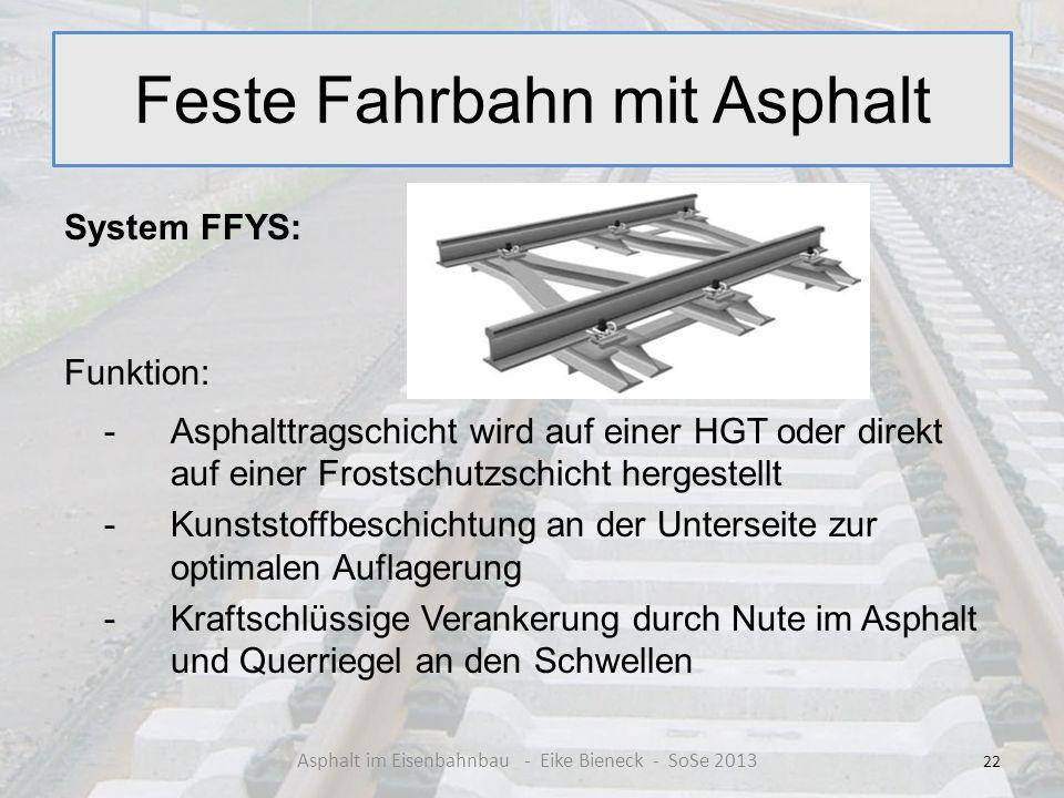 Feste Fahrbahn mit Asphalt System FFYS: Funktion: -Asphalttragschicht wird auf einer HGT oder direkt auf einer Frostschutzschicht hergestellt - Kunsts