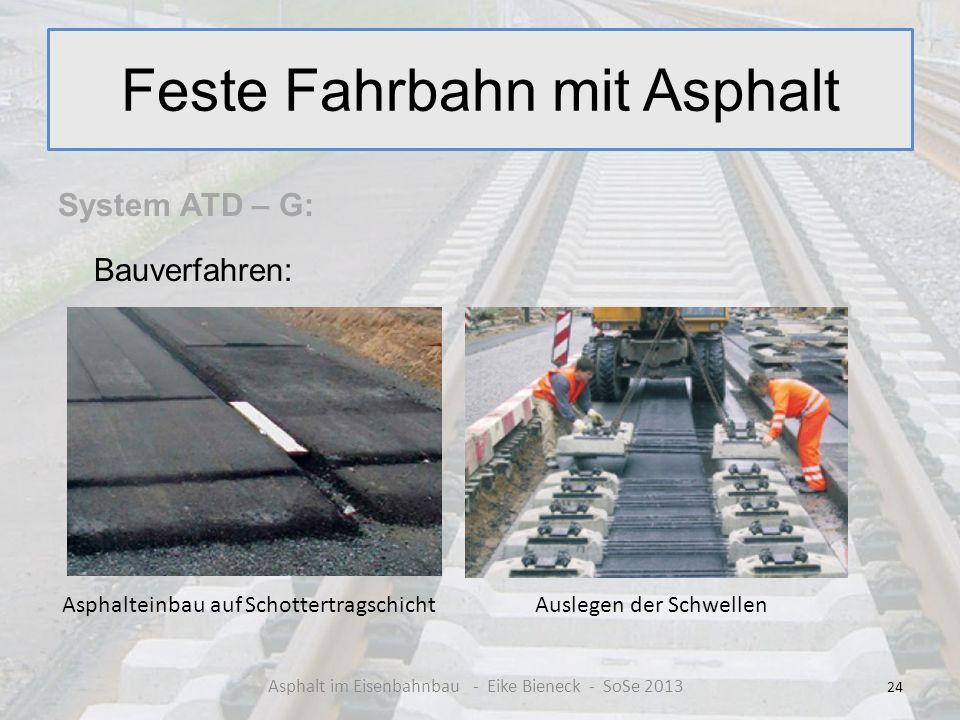 Feste Fahrbahn mit Asphalt System ATD – G: Bauverfahren: 24 Asphalt im Eisenbahnbau - Eike Bieneck - SoSe 2013 Asphalteinbau auf SchottertragschichtAu