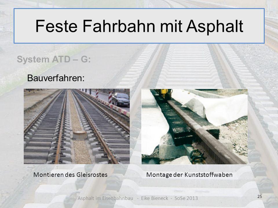 Feste Fahrbahn mit Asphalt System ATD – G: Bauverfahren: 25 Asphalt im Eisenbahnbau - Eike Bieneck - SoSe 2013 Montieren des GleisrostesMontage der Ku