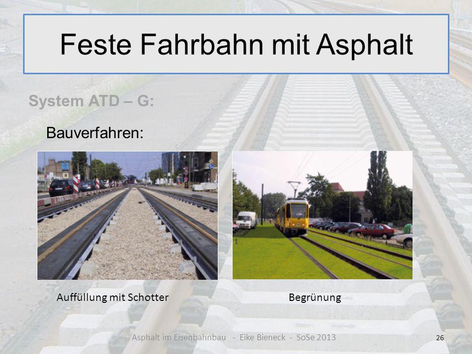 Feste Fahrbahn mit Asphalt System ATD – G: Bauverfahren: 26 Asphalt im Eisenbahnbau - Eike Bieneck - SoSe 2013 Auffüllung mit SchotterBegrünung