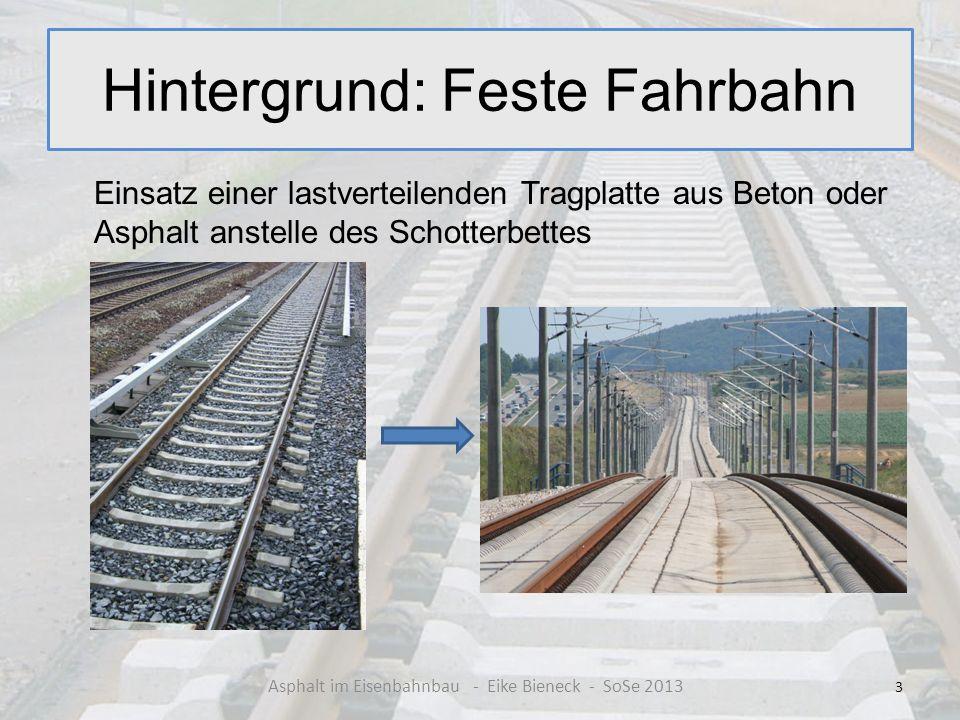 Hintergrund: Feste Fahrbahn Einsatz einer lastverteilenden Tragplatte aus Beton oder Asphalt anstelle des Schotterbettes 3 Asphalt im Eisenbahnbau - E