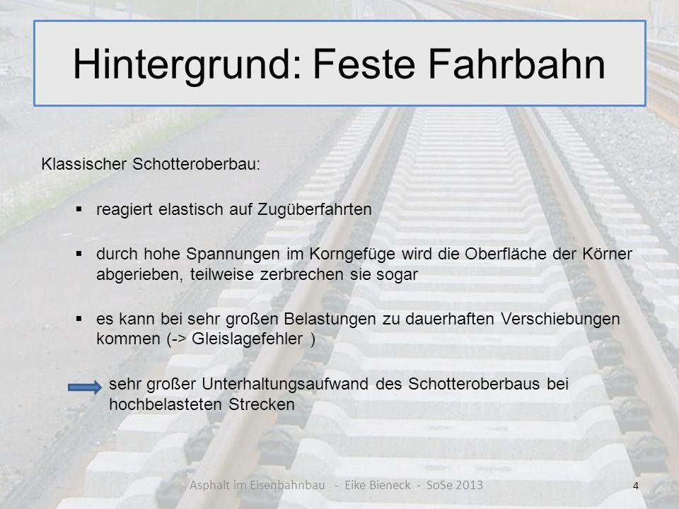 Hintergrund: Feste Fahrbahn Klassischer Schotteroberbau: reagiert elastisch auf Zugüberfahrten durch hohe Spannungen im Korngefüge wird die Oberfläche