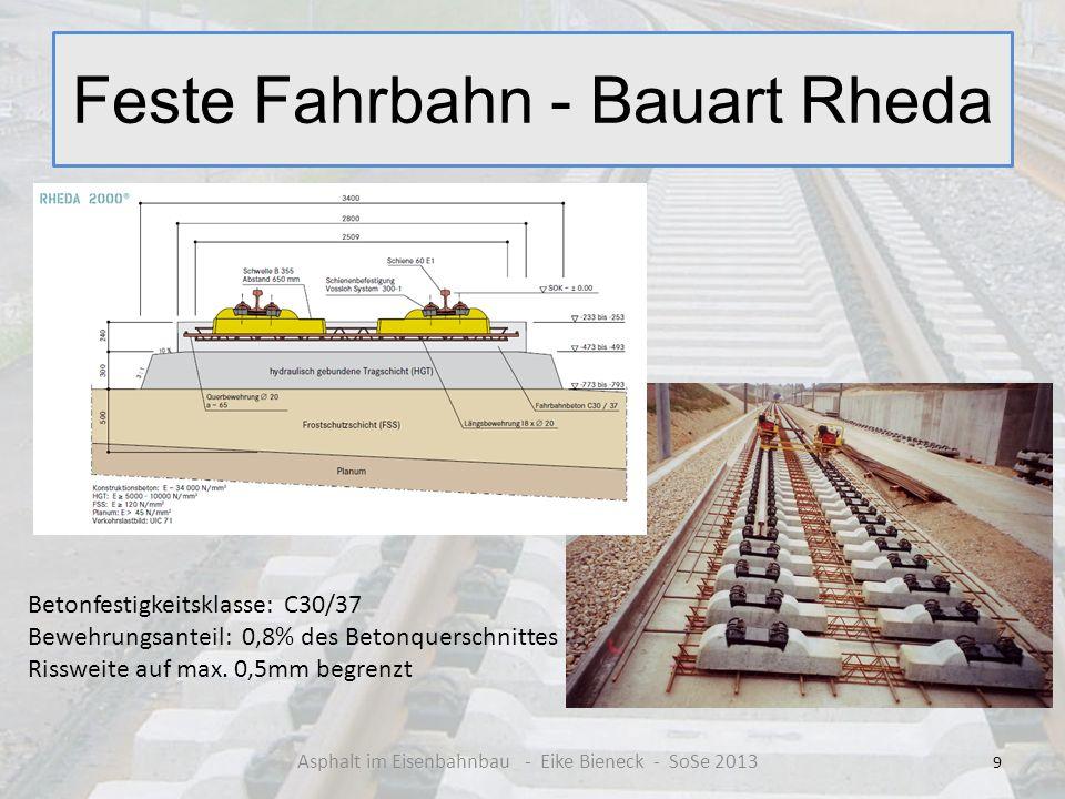 Feste Fahrbahn - Bauart Rheda 9 Asphalt im Eisenbahnbau - Eike Bieneck - SoSe 2013 Betonfestigkeitsklasse: C30/37 Bewehrungsanteil: 0,8% des Betonquer