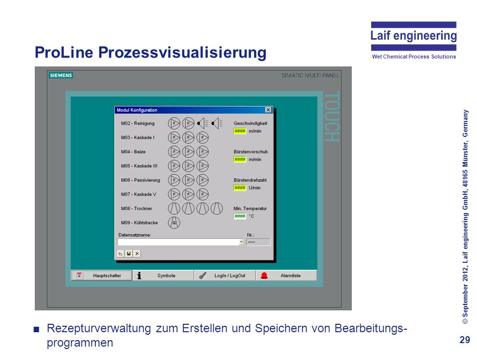 Wet Chemical Process Solutions ProLine Prozessvisualisierung 30 © September 2012, Laif engineering GmbH, 48165 Münster, Germany Setup-Menü mit Parameter-Setup für die Module