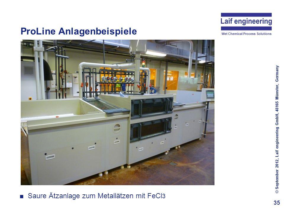 Wet Chemical Process Solutions ProLine Anlagenbeispiele 35 © September 2012, Laif engineering GmbH, 48165 Münster, Germany Saure Ätzanlage zum Metallä