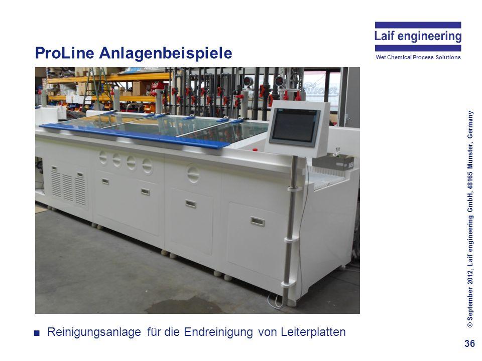 Wet Chemical Process Solutions ProLine Anlagenbeispiele 36 © September 2012, Laif engineering GmbH, 48165 Münster, Germany Reinigungsanlage für die En