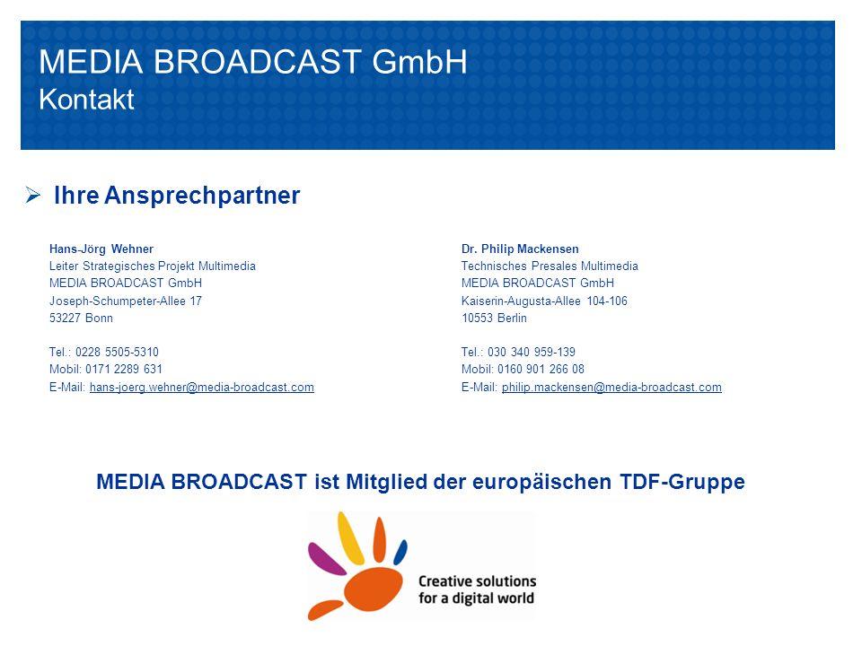 Multimedia Portfolio der MEDIA BROADCASTChart 20Multimedia-Portfolio der MEDIA BROADCASTChart 20 Hans-Jörg Wehner Leiter Strategisches Projekt Multime
