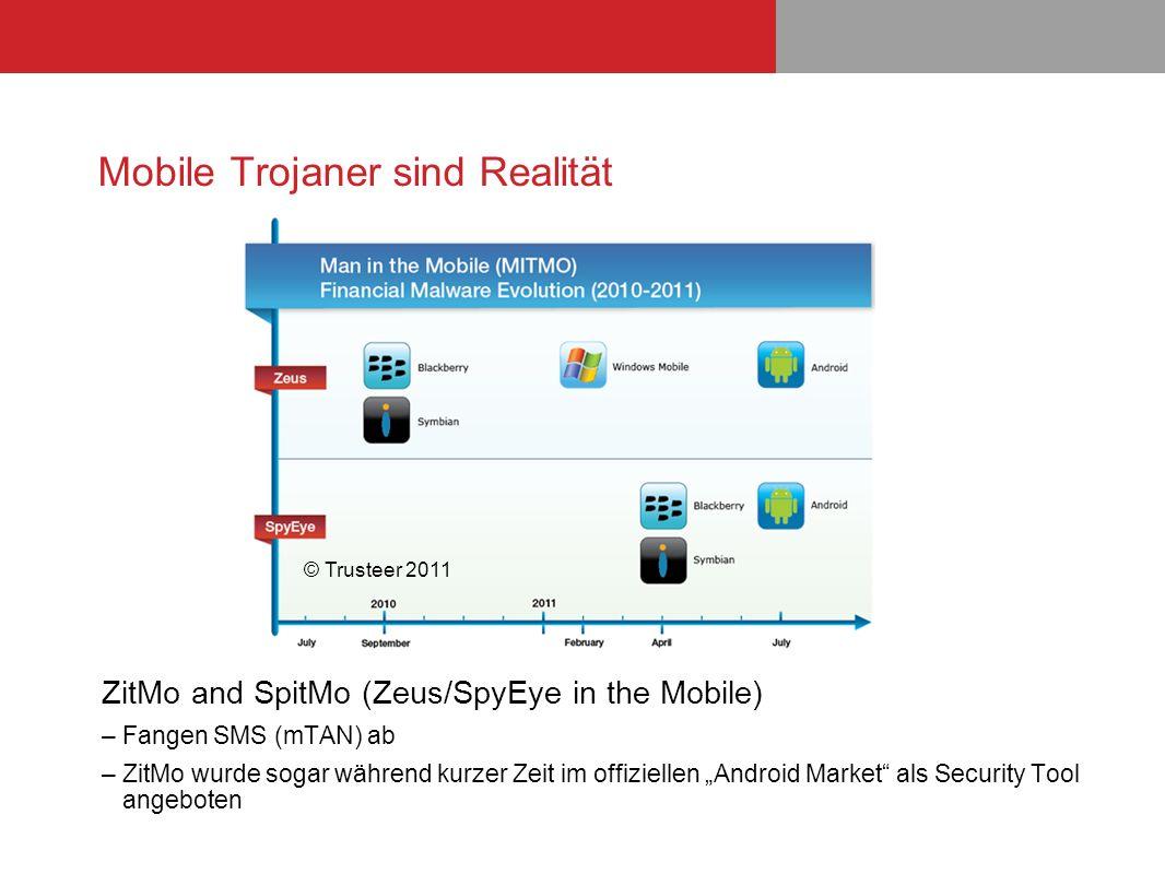 Mobile Trojaner sind Realität ZitMo and SpitMo (Zeus/SpyEye in the Mobile) –Fangen SMS (mTAN) ab –ZitMo wurde sogar während kurzer Zeit im offiziellen
