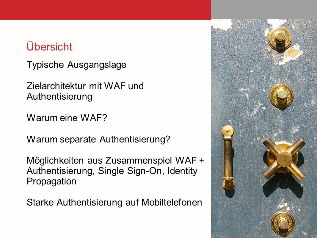Übersicht Typische Ausgangslage Zielarchitektur mit WAF und Authentisierung Warum eine WAF? Warum separate Authentisierung? Möglichkeiten aus Zusammen