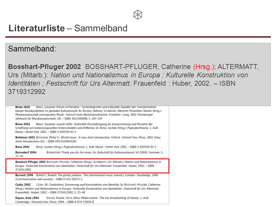 Literaturliste – Sammelband Sammelband: Bosshart-Pfluger 2002 BOSSHART-PFLUGER, Catherine (Hrsg.); ALTERMATT, Urs (Mitarb.): Nation und Nationalismus