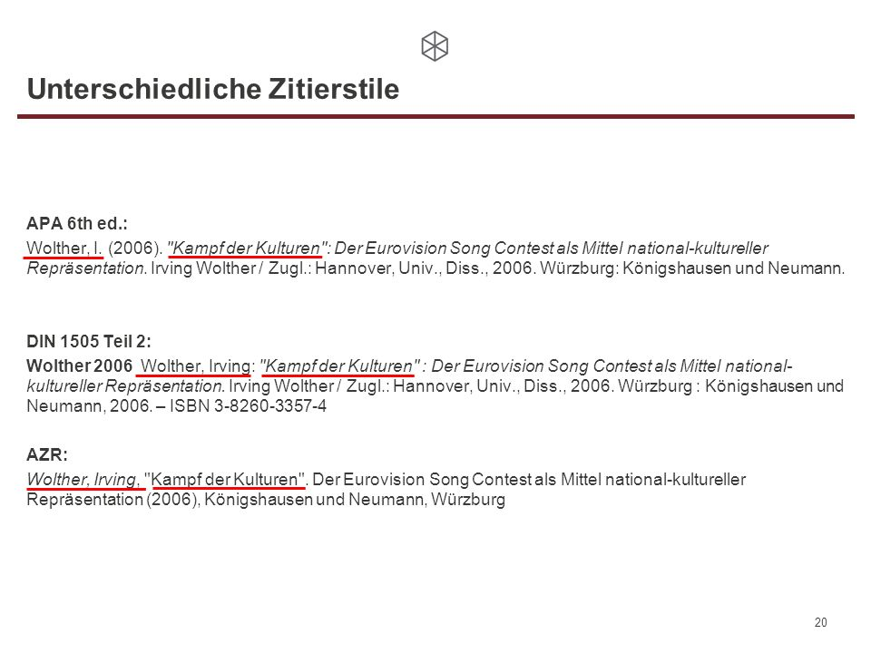 Unterschiedliche Zitierstile APA 6th ed.: Wolther, I. (2006).