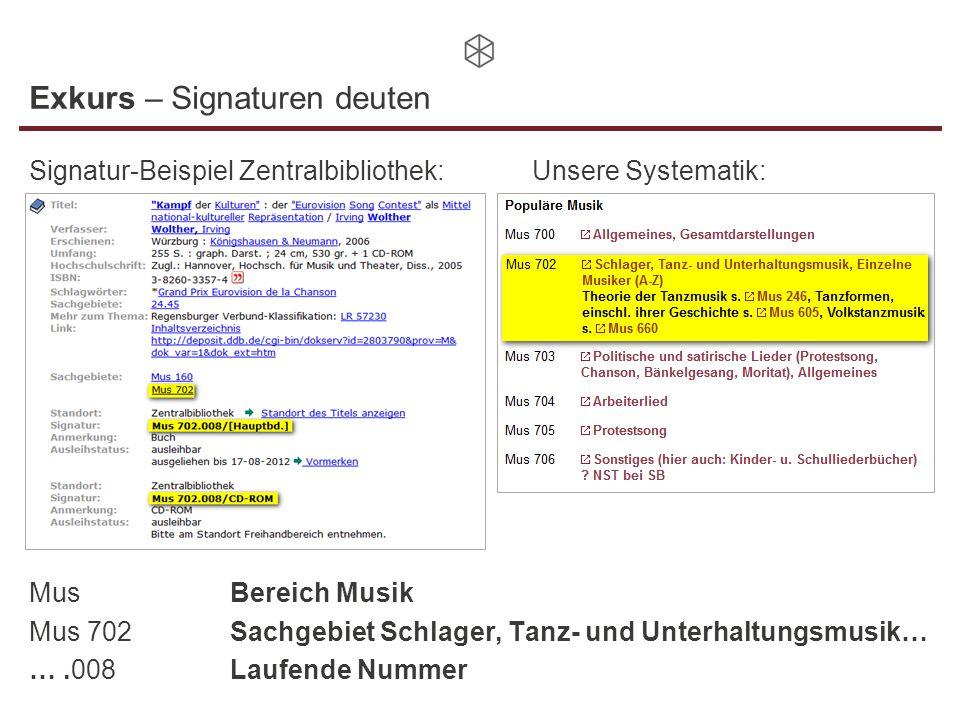 Exkurs – Signaturen deuten Signatur-Beispiel Zentralbibliothek:Unsere Systematik: MusBereich Musik Mus 702Sachgebiet Schlager, Tanz- und Unterhaltungs