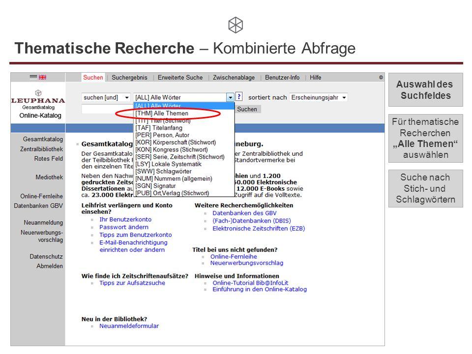 Thematische Recherche – Kombinierte Abfrage Auswahl des Suchfeldes Für thematische Recherchen Alle Themen auswählen Suche nach Stich- und Schlagwörter