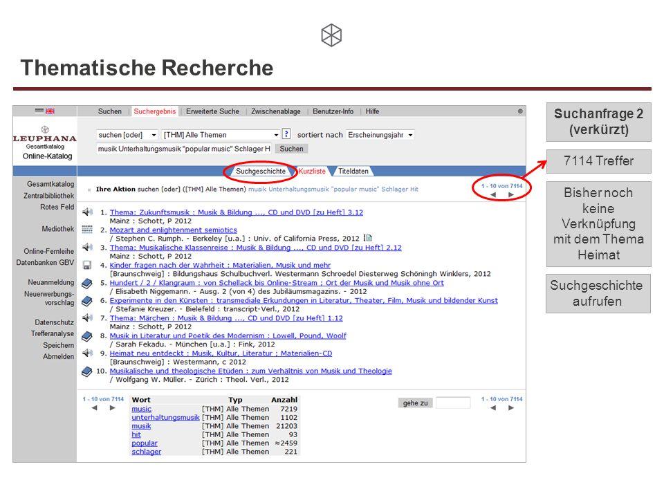 7114 Treffer Thematische Recherche Suchanfrage 2 (verkürzt) Bisher noch keine Verknüpfung mit dem Thema Heimat Suchgeschichte aufrufen