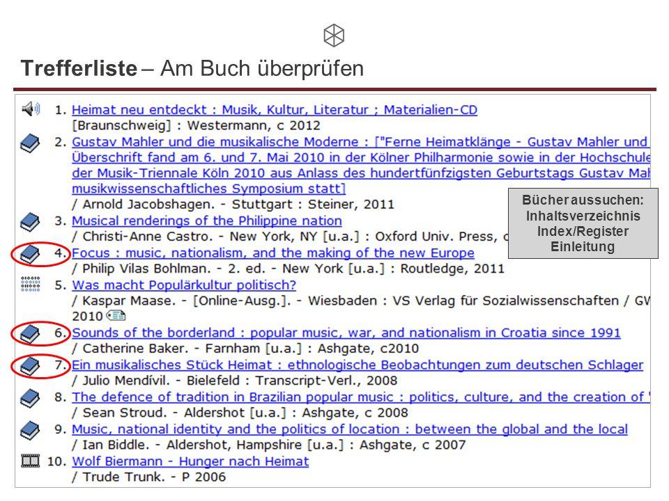 Trefferliste – Am Buch überprüfen Bücher aussuchen: Inhaltsverzeichnis Index/Register Einleitung