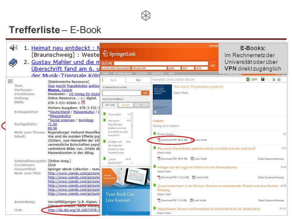 Trefferliste – E-Book E-Books: Im Rechnernetz der Universität oder über VPN direkt zugänglich