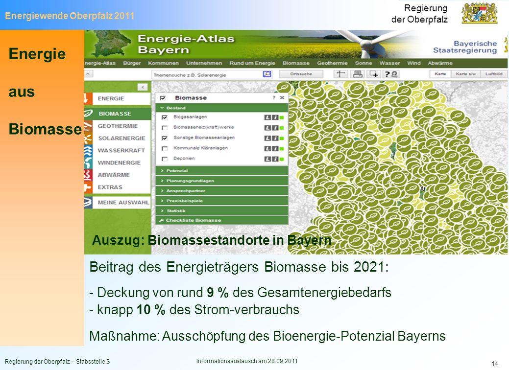 Energiewende Oberpfalz 2011 Regierung der Oberpfalz Regierung der Oberpfalz – Stabsstelle S Informationsaustausch am 28.09.2011 14 Beitrag des Energie