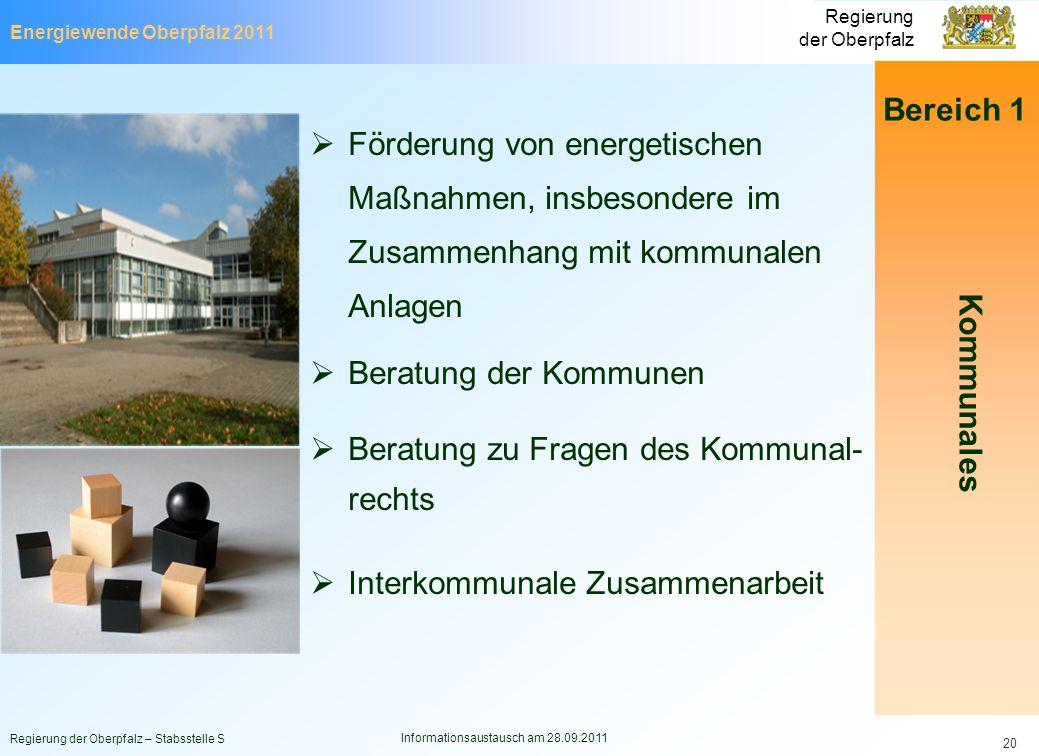 Energiewende Oberpfalz 2011 Regierung der Oberpfalz Regierung der Oberpfalz – Stabsstelle S Informationsaustausch am 28.09.2011 20 Bereich 1 Förderung