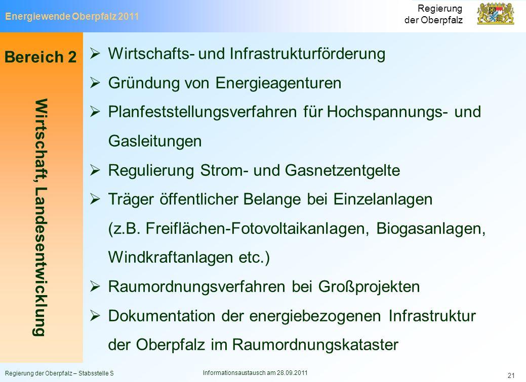 Energiewende Oberpfalz 2011 Regierung der Oberpfalz Regierung der Oberpfalz – Stabsstelle S Informationsaustausch am 28.09.2011 21 Bereich 2 Wirtschaf