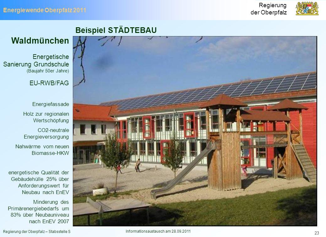Energiewende Oberpfalz 2011 Regierung der Oberpfalz Regierung der Oberpfalz – Stabsstelle S Informationsaustausch am 28.09.2011 23 Beispiel STÄDTEBAU