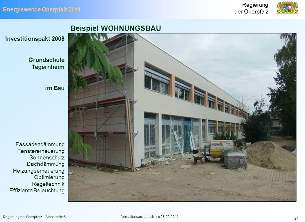 Energiewende Oberpfalz 2011 Regierung der Oberpfalz Regierung der Oberpfalz – Stabsstelle S Informationsaustausch am 28.09.2011 24 Investitionspakt 20
