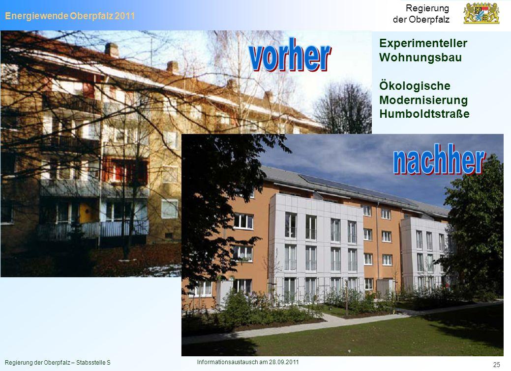 Energiewende Oberpfalz 2011 Regierung der Oberpfalz Regierung der Oberpfalz – Stabsstelle S Informationsaustausch am 28.09.2011 25 Experimenteller Woh