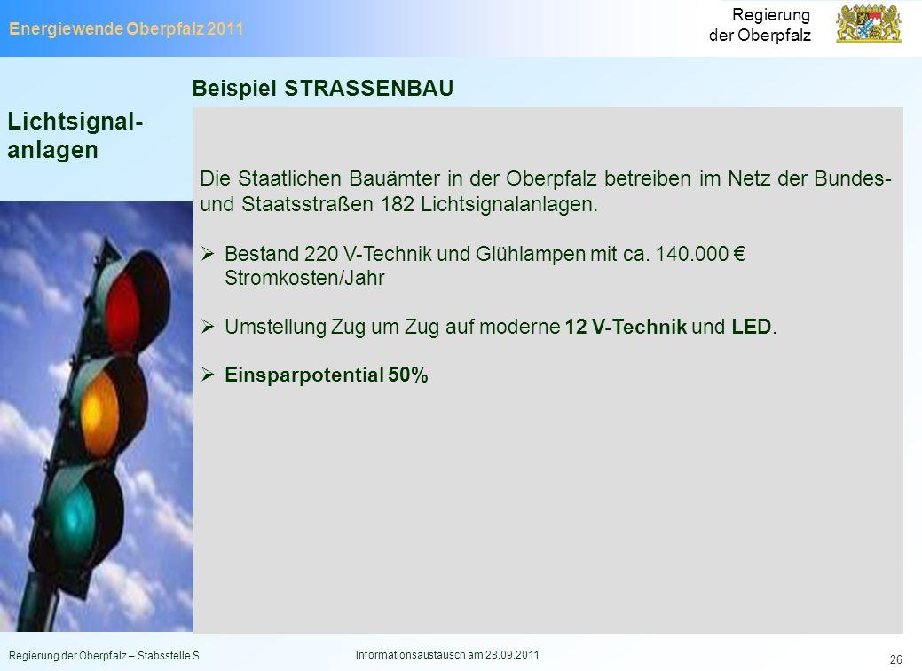 Energiewende Oberpfalz 2011 Regierung der Oberpfalz Regierung der Oberpfalz – Stabsstelle S Informationsaustausch am 28.09.2011 26 Lichtsignal- anlage