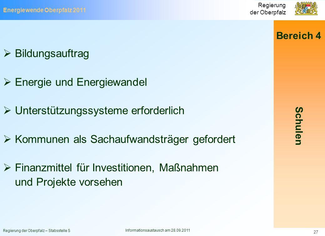 Energiewende Oberpfalz 2011 Regierung der Oberpfalz Regierung der Oberpfalz – Stabsstelle S Informationsaustausch am 28.09.2011 27 Bereich 4 Schulen B