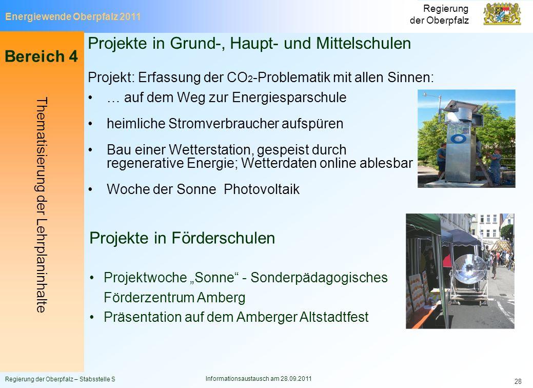 Energiewende Oberpfalz 2011 Regierung der Oberpfalz Regierung der Oberpfalz – Stabsstelle S Informationsaustausch am 28.09.2011 28 Projekte in Grund-,