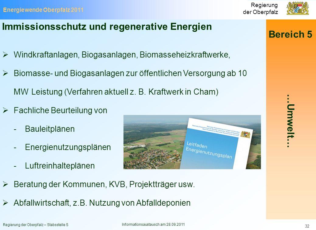Energiewende Oberpfalz 2011 Regierung der Oberpfalz Regierung der Oberpfalz – Stabsstelle S Informationsaustausch am 28.09.2011 32 Bereich 5 …Umwelt…