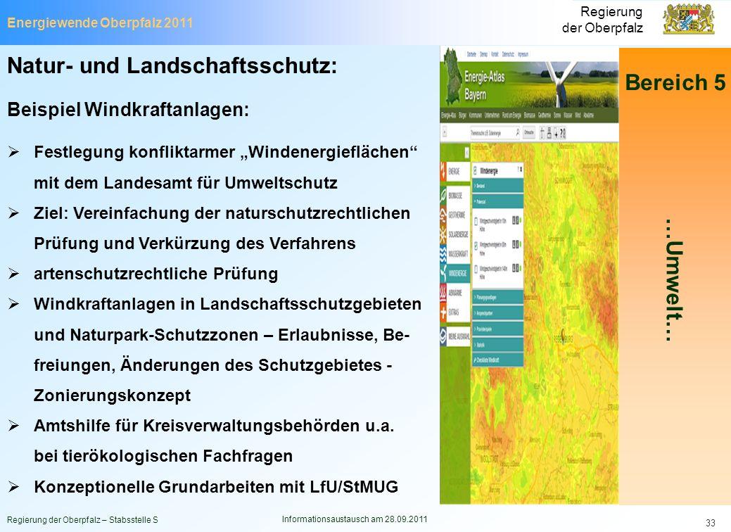 Energiewende Oberpfalz 2011 Regierung der Oberpfalz Regierung der Oberpfalz – Stabsstelle S Informationsaustausch am 28.09.2011 33 Natur- und Landscha