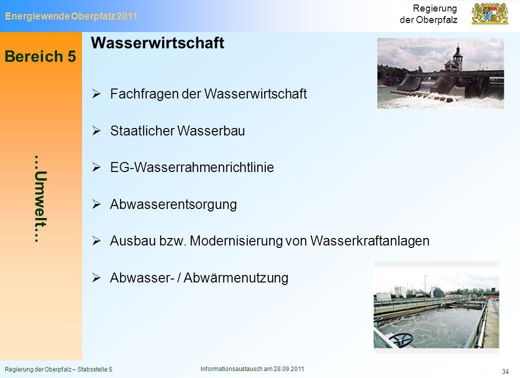 Energiewende Oberpfalz 2011 Regierung der Oberpfalz Regierung der Oberpfalz – Stabsstelle S Informationsaustausch am 28.09.2011 34 Wasserwirtschaft Fa
