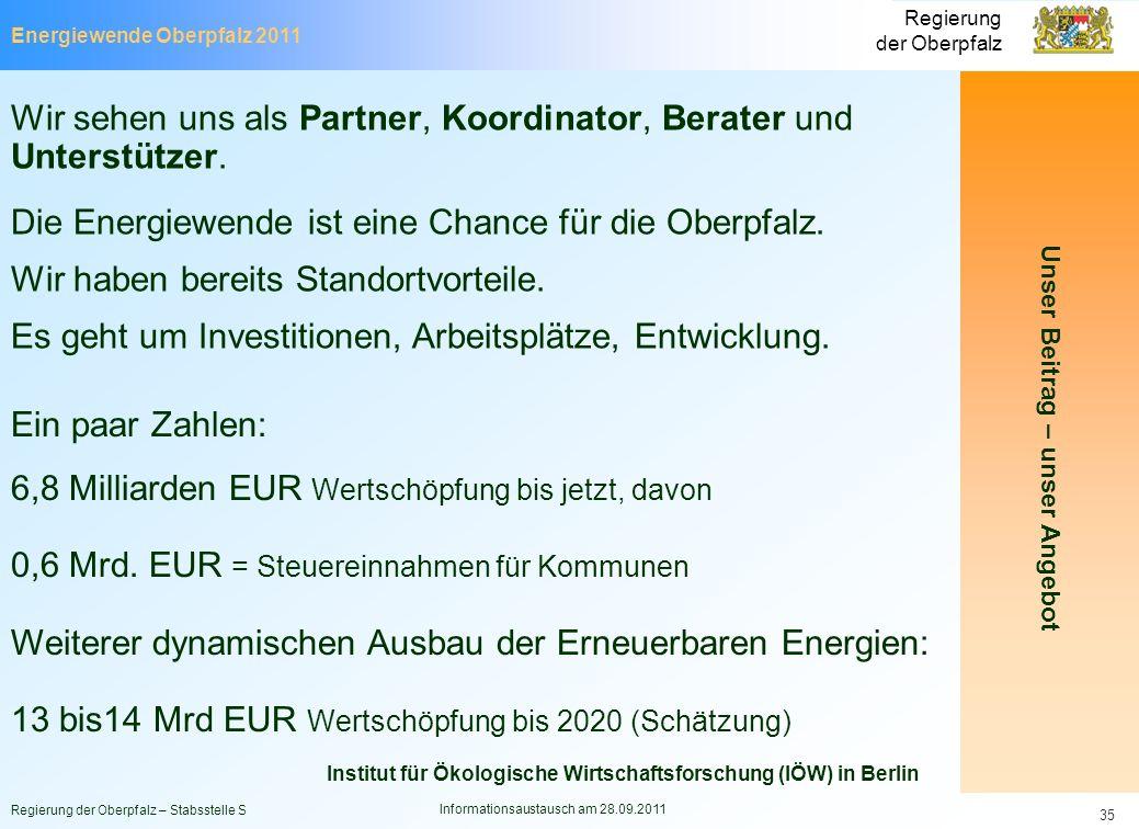 Energiewende Oberpfalz 2011 Regierung der Oberpfalz Regierung der Oberpfalz – Stabsstelle S Informationsaustausch am 28.09.2011 35 Unser Beitrag – uns