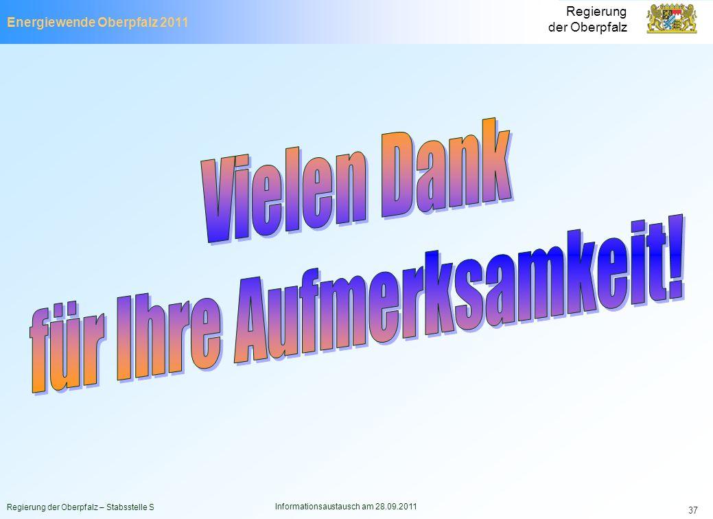 Energiewende Oberpfalz 2011 Regierung der Oberpfalz Regierung der Oberpfalz – Stabsstelle S Informationsaustausch am 28.09.2011 37