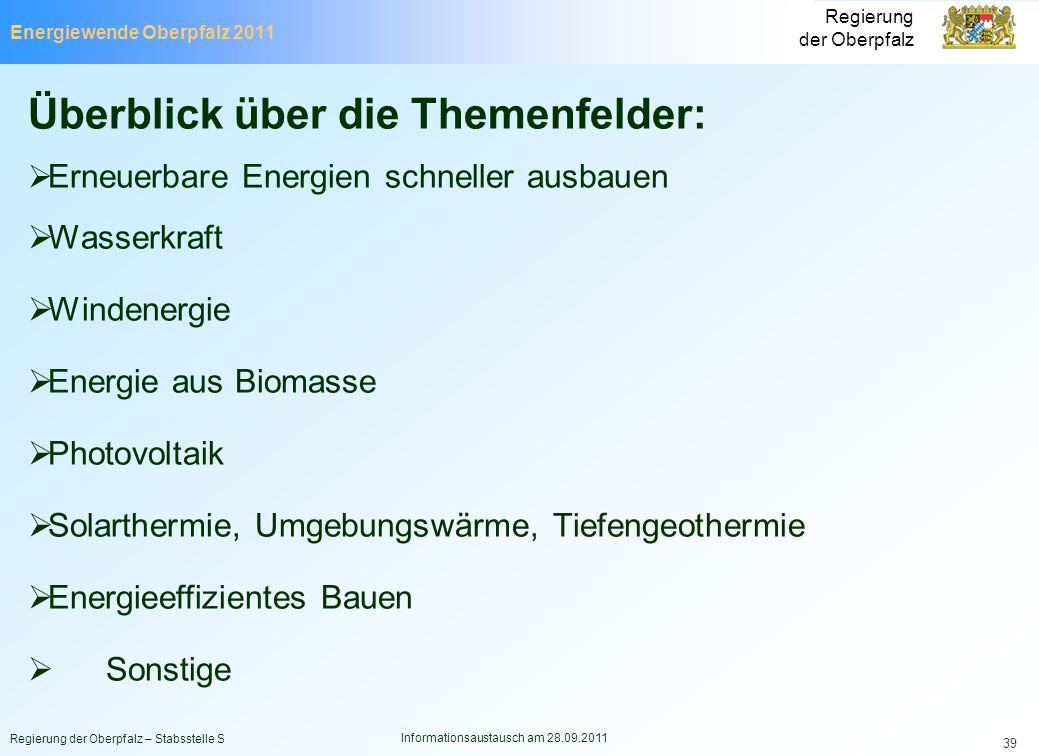 Energiewende Oberpfalz 2011 Regierung der Oberpfalz Regierung der Oberpfalz – Stabsstelle S Informationsaustausch am 28.09.2011 39 Überblick über die