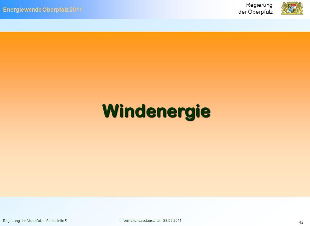 Energiewende Oberpfalz 2011 Regierung der Oberpfalz Regierung der Oberpfalz – Stabsstelle S Informationsaustausch am 28.09.2011 42 Windenergie